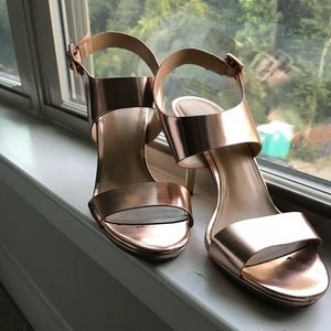 Michael Kors chrome rose gold heels shoes 7